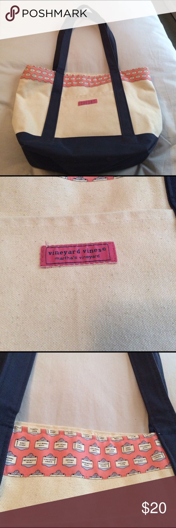 Vineyard vines large canvas weekender tote bag Being offered is a gently used vineyard vines canvas tote bag that is clean inside and out. Top of the bag has mini street signs on it. Inside is lined with gingham print fabrics and has a zippered pocket as well as 3 large slip pockets. Bag measures 18x12x6 smoke free home I do bundle and take reasonable offers. Vineyard Vines Bags Totes