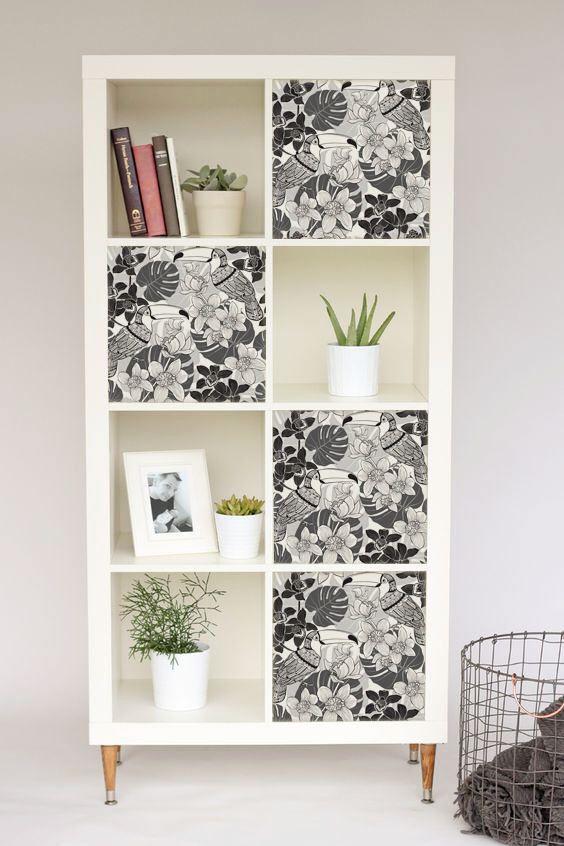 Decals For Kallax / Expedit, IKEA, Monochrome, Birds, Gray, Tropical,