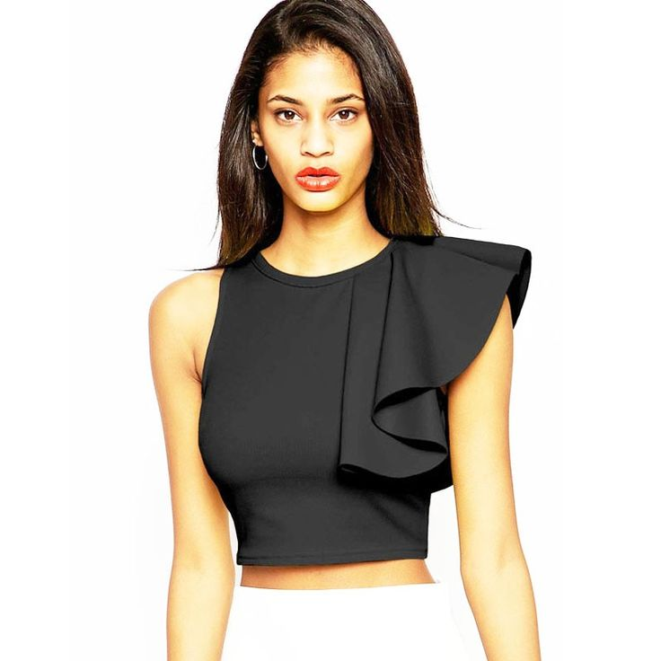 Fashion Black Yellow Asymmetric Ruffle Blouses Sleeveless O-neck Woman Tops Short Summer Crop Shirt Tank Back Zipper Crop Top  (5)