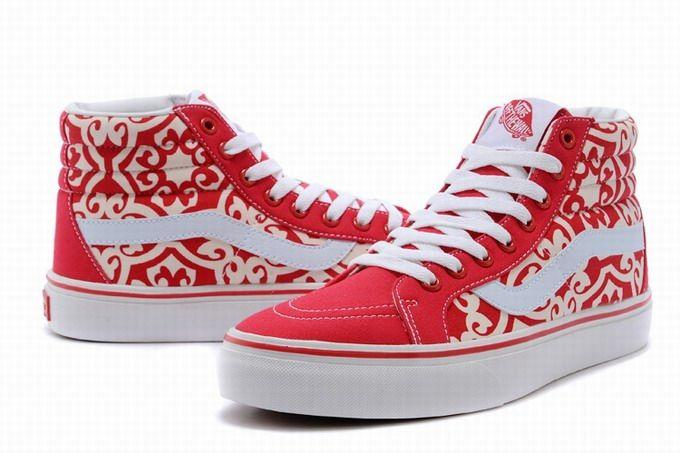ca2c46eed5 Vans SK8-Hi Floral Red White Womens Shoes  Vans