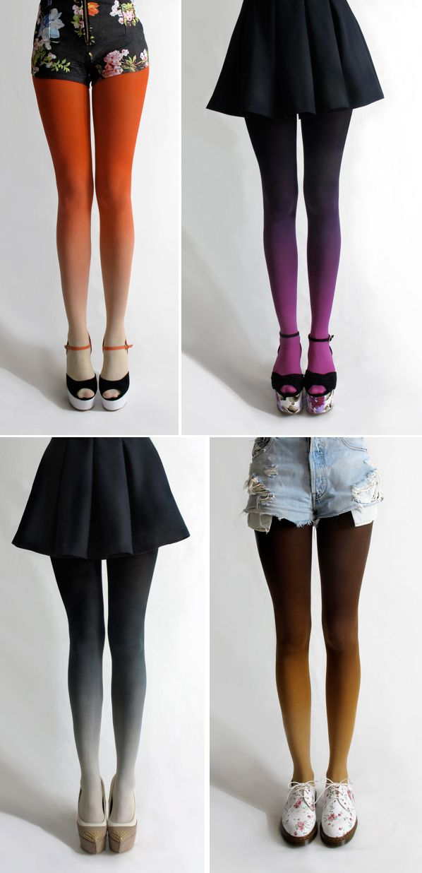 Ombre tights. love.    I am going to try to start making these, if you guys are interested in buying them (If I succeed) let me know! -Shannon