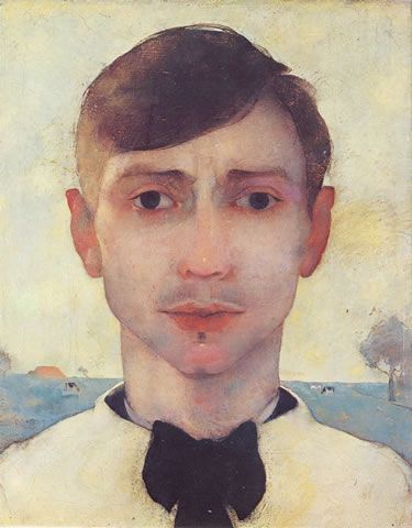 Self Portrait with landscape in 1913 ~  Jan Mankes (1889-1920) was a Dutch painter. He produced around 200 paintings, 100 drawings and 50 prints before dying of tuberculosis at the age of 30. His restrained, detailed work ranged from self portraits to landscapes and studies of birds and animals.