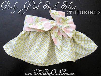 Baby Girl Skirt tutorial with Sash