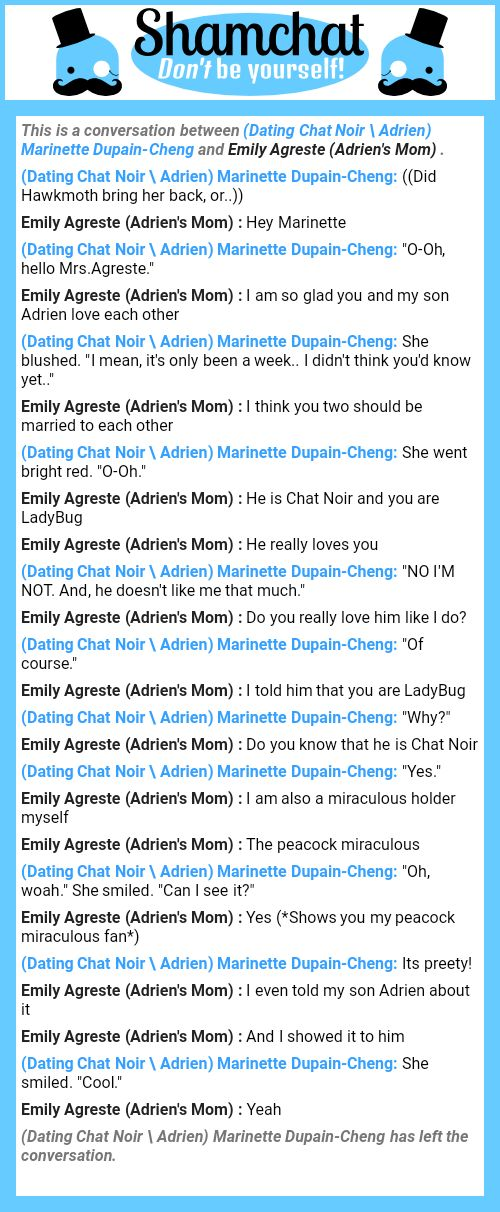 A conversation between Emily Agreste  (Adrien's Mom)  and (Dating Chat Noir \ Adrien) Marinette Dupain-Cheng