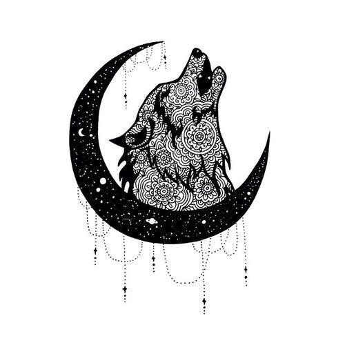 ornate wolf head elegant art - Google Search