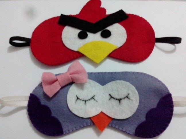 Máscaras de dormir Angry Birds e Coruja Pontos de Amor by Jéssica