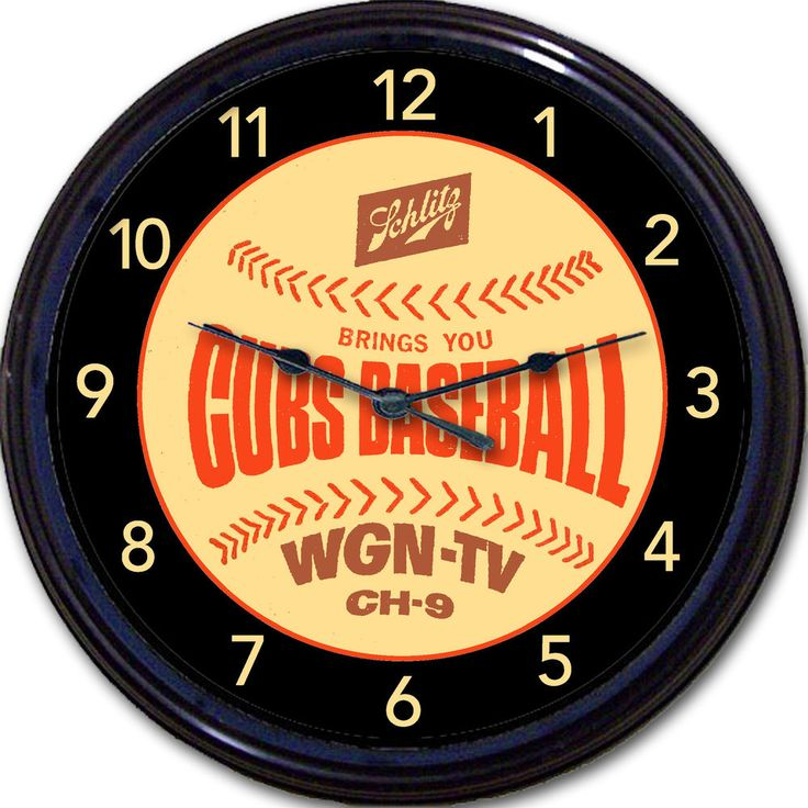 "Chicago Cubs Wrigley Schlitz Beer Coaster Wall Clock Baseball Man Cave New 10"" #ChicagoCubs"