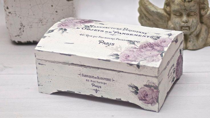 Decoupage pudełko vintage z zadrapaniami - DIY tutorial