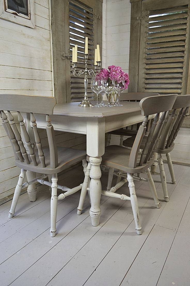 Elegant Dine In Style With Our Stunning Grey And White Split Dining Set! Painted In  Annie