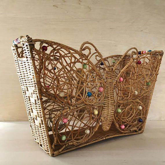 Exceptional Woven Rattan Wicker Butterfly Basket Magazine Basket Floor Nice Look