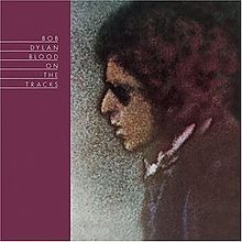 Bob Dylan 1975 Blood on the TracksA drawing of Dylan's face in profile facing a purple stripe with the album's name in white