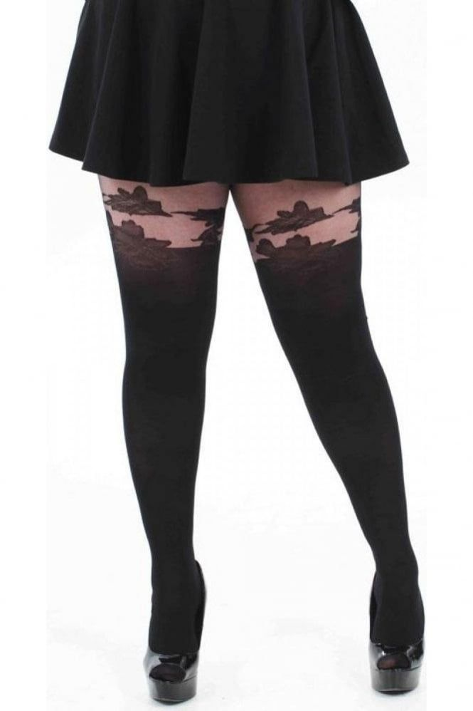 3fa6efa6ae1 Pamela Mann Floral Suspender Tights Plus Size