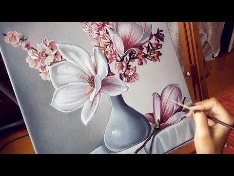 Декоративное панно - цветы магнолии. Создаем интерьерную картину - YouTube