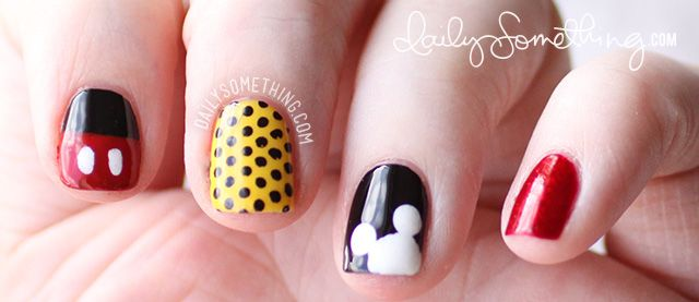 Mickey Inspired Manicure. Disney nail art. Erica would love to do this once she gets her nail stuff from Shannon!