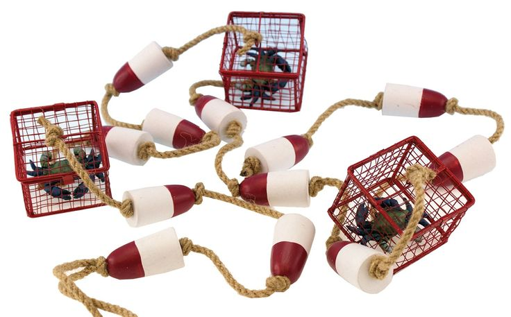 Crab trap with blue crab and buoy garland 6 feet long 3 crab traps and 12 wood - Trap decor ...