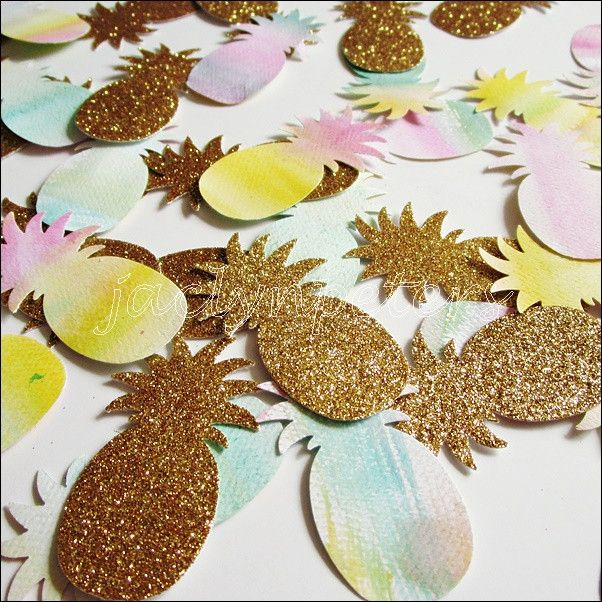 Decorate party and wedding tables with gold glitter and hand painted watercolor pineapples! The perfect finishing touch to a luau or tropical theme event. Fabulous Features: - Sold in packs of 50 piec