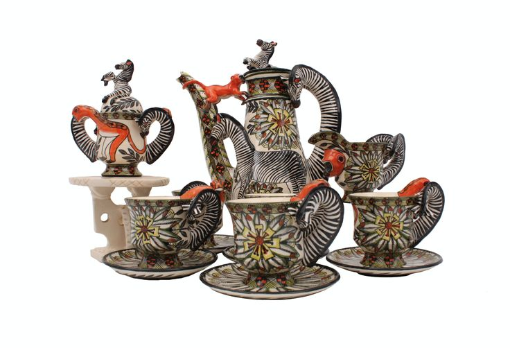Ardmore Ceramic Art clay specialists, Lovemore Sithole and Qiniso Mungwe, and painter, Thandeka Shabalala, have captured the essence with this delightful coffee set, for our themed exhibition 'Celebrating the Year of the Monkey', which will open this week at Charles Greig in Hyde Park, Johannesburg, from August 12th.