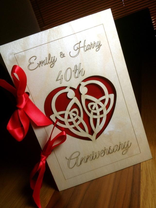 wedding anniversary greeting cardhusband%0A beautiful birch wood laser cut personalised   th Ruby Wedding Anniversary  card