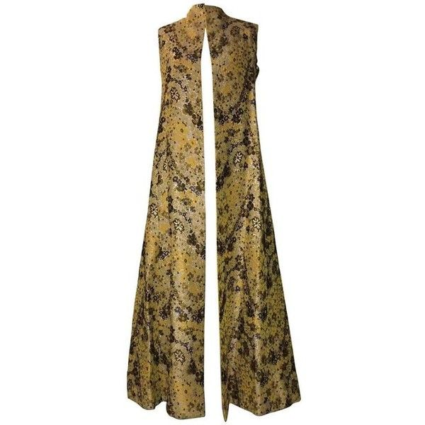 Preowned Guy Laroche 1960s Metallic Gold Yellow Floral Print Open... ($495) ❤ liked on Polyvore featuring outerwear, vests, dresses, yellow, brown vest, yellow waistcoat, guy laroche, yellow vest and long waistcoat