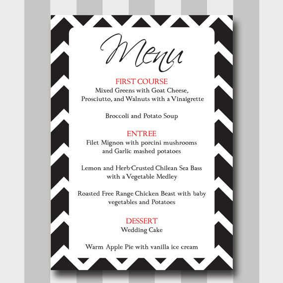 Simple Wedding Reception Food: Chevron Menu Card, DIY, Printable, Template, Modern