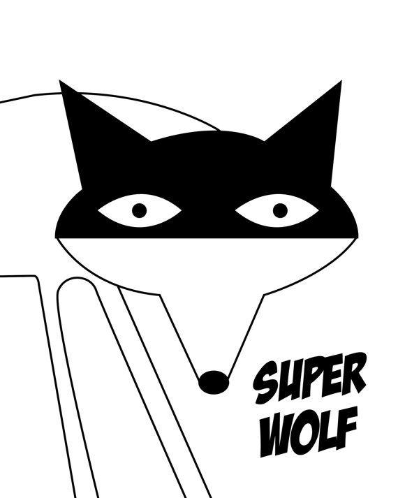 Superwolf. Monochrome art print. by simplymeandher on Etsy