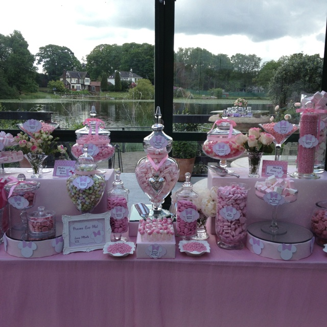 Pink Minnie Mouse themed candy buffet and dessert table from www.sweetiefactory.co.uk