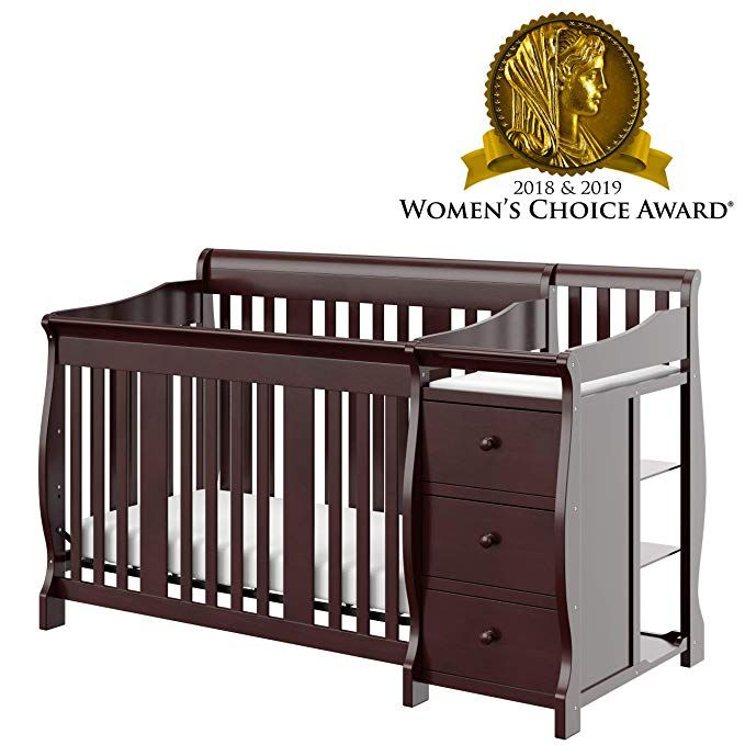 Amazon Com Storkcraft Portofino 4 In 1 Fixed Side Convertible Crib And Changer Espresso Easily Converts To Toddler Cribs Baby Crib Sheets Convertible Crib Baby crib that converts to toddler bed