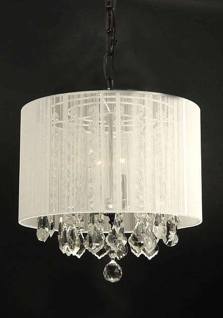 "www.gallery74.com - F9-White/sm/604/3 Crystal chandelier with shade - 15""x15"" - $172.90"