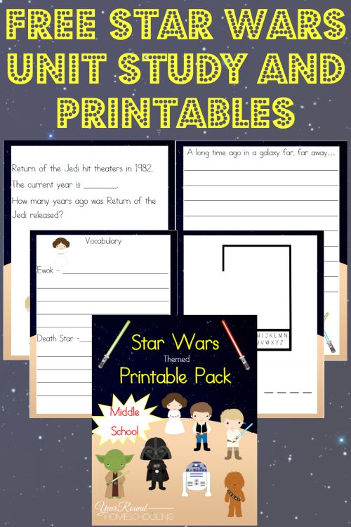 Free Star Wars Unit Study and Printables (Middle School) - http://www.yearroundhomeschooling.com/free-star-wars-unit-study-and-printables-middle-school/