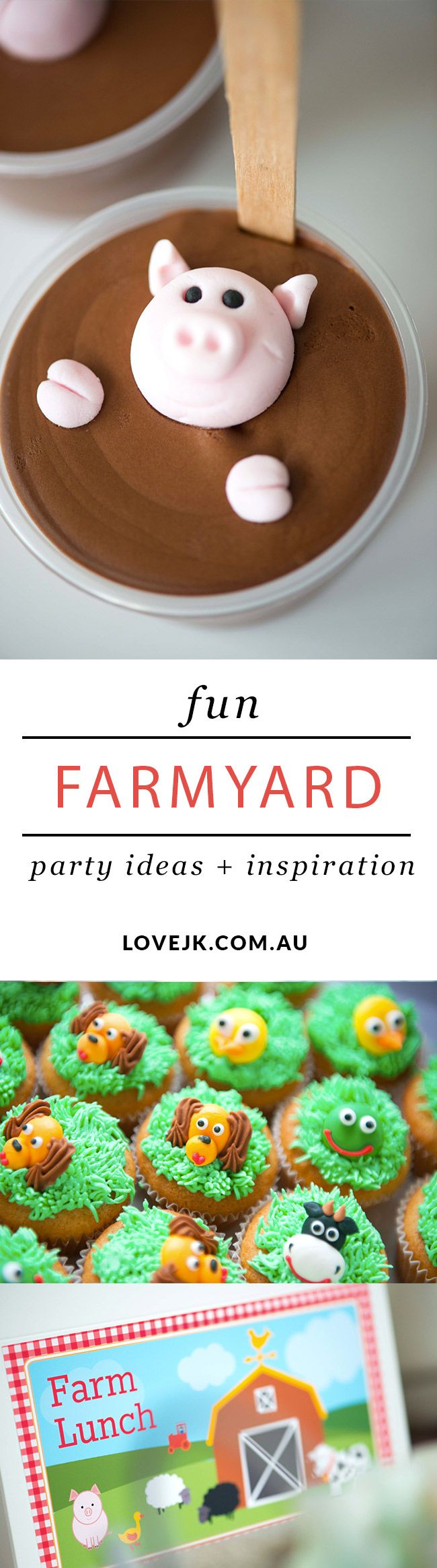 Farmyard Party Ideas - Cheky animal cupcakes, Pigs in mud mousse and lovely Farm Lunch lunch boxes!