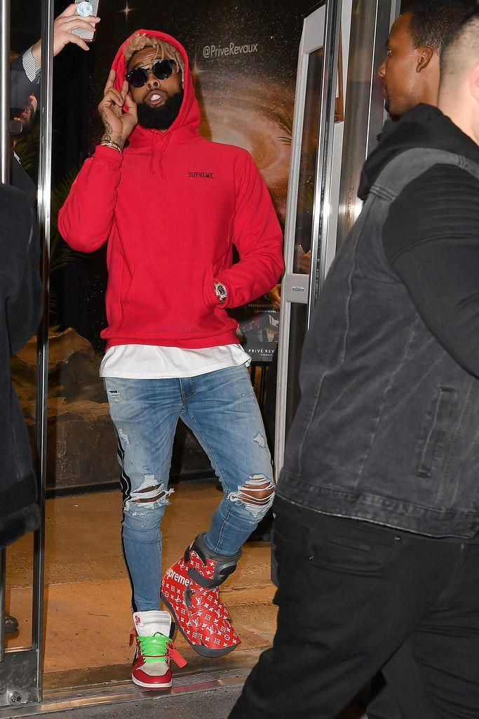premium selection 2a18b ffc3c Odell Beckham Jr's Injured Ankle in Supreme x Louis Vuitton ...