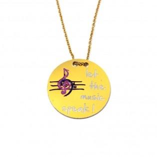 Let the Music by  #tarz #designer #original #music #necklace #trebleclef #treble #clef #note #solanahtarı #kolye #yellow #interesting #tasarım #moda #tasarımcı #design #style #fashion #stylish #chic