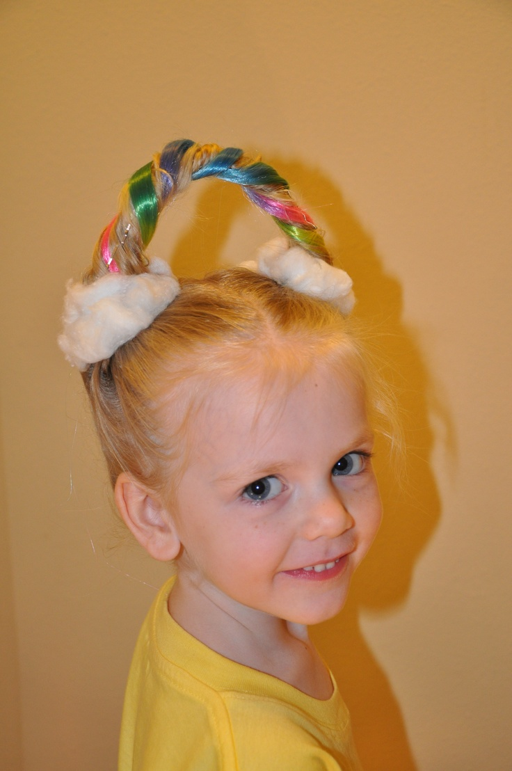 Rainbows and clouds for crazy hair day. I wonder if you could do several small sections and chalk them.