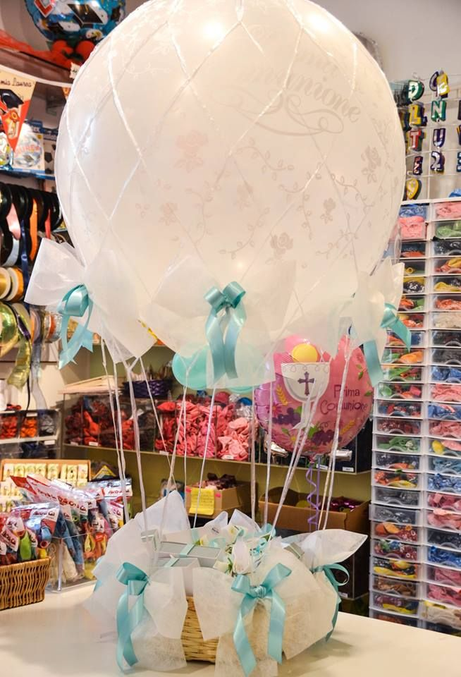 mongolfiera porta bomboniere per comunione, cresima, battesimo, matrimonio