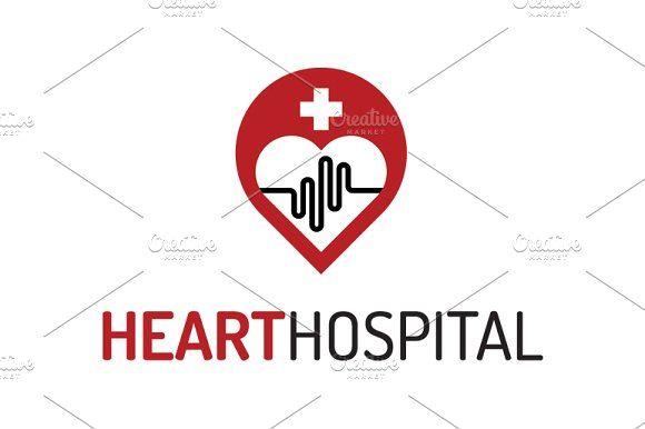 Heart Hospital Logo Template by Dizaino-paslaugos on @creativemarket