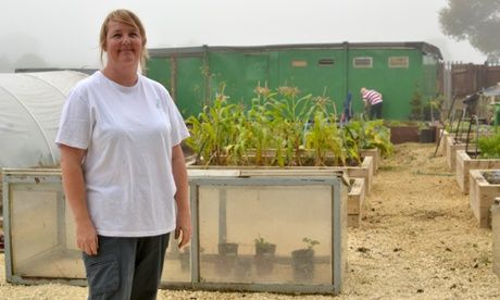 Kelly Henderson, in the allotment she built with a group of energetic teenagers.