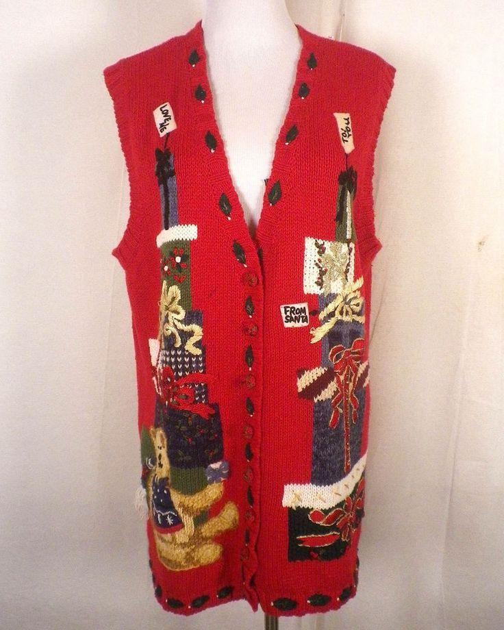 euc Tiara Women Holiday Sweater Vest ugly christmas party plus size 14/16 #TiaraWomen #VestSleeveless