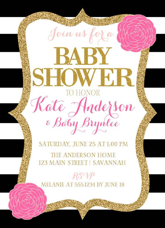 Pink Black And White Baby Shower Invitation by CarouselPrintables