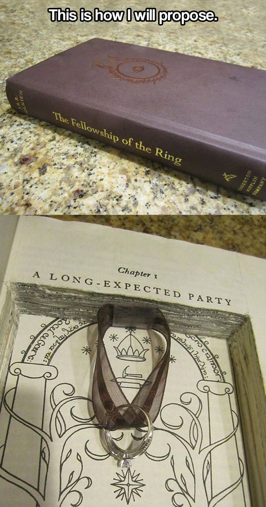 If you are marrying a book geek, she may kill you just for defacing a copy of Tolkein's book!!!  I would.....