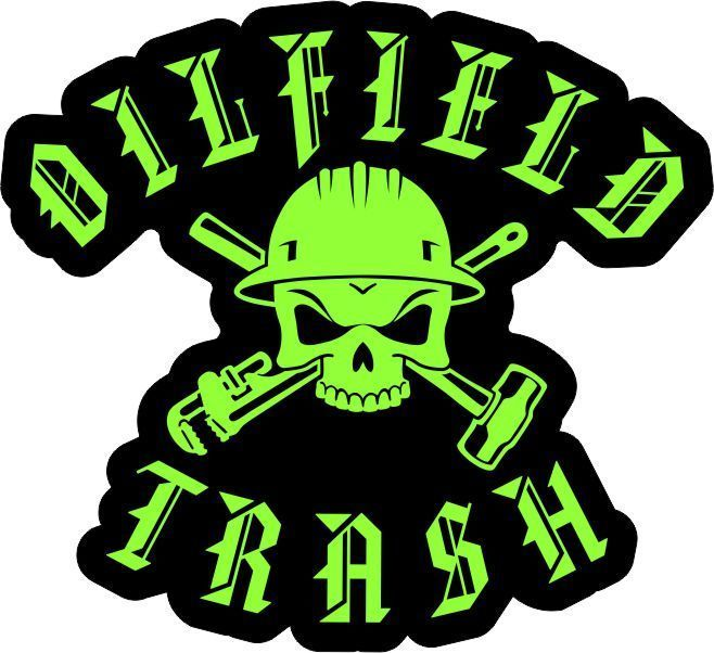 "OILFIELD TRASH SKULL & TOOLS 2"" Neon Green Hard Hat Sticker Decal FREE SHIPPING!"