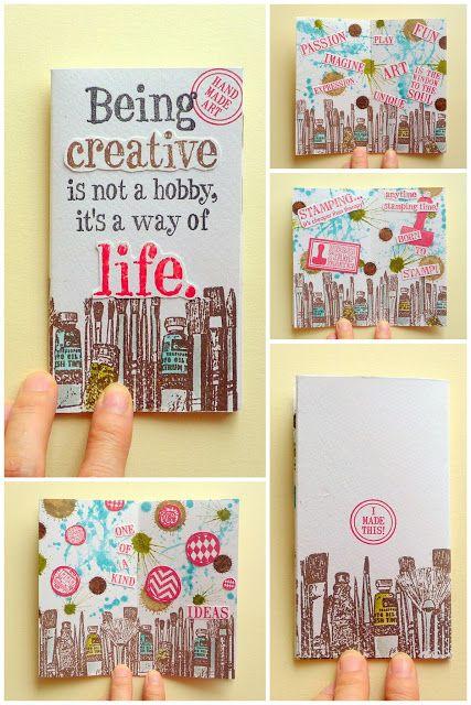 Mini book by Emilia Hsu using Darkroom Door Being Creative Quote Stamp and Art Studio Border Stamp