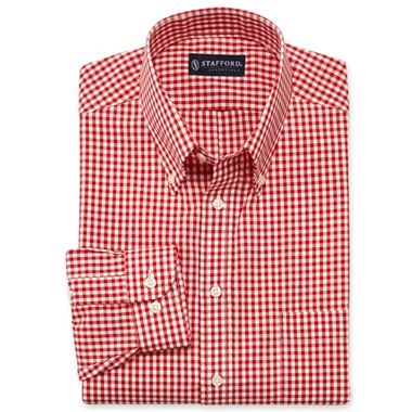 Stafford gingham broadcloth dress shirt button down for Where to buy stafford dress shirts