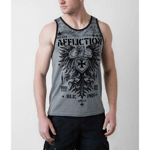Affliction Full Value Tank Top ($48) ❤ liked on Polyvore featuring men's fashion, men's clothing, men's shirts, men's tank tops, grey, mens camo tank top, mens gray dress shirt, mens grey shirt, affliction mens shirts and mens camouflage shirts