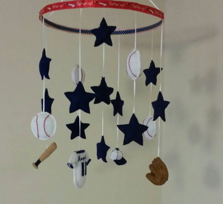 Champ - Baseball Baby Mobile -Personalized - Sports Nursery - Star - Red White and Blue - Navy - Monogrammed - Boy - Custom - Crib Accessory by GraceAnnBaby on Etsy https://www.etsy.com/listing/218347161/champ-baseball-baby-mobile-personalized