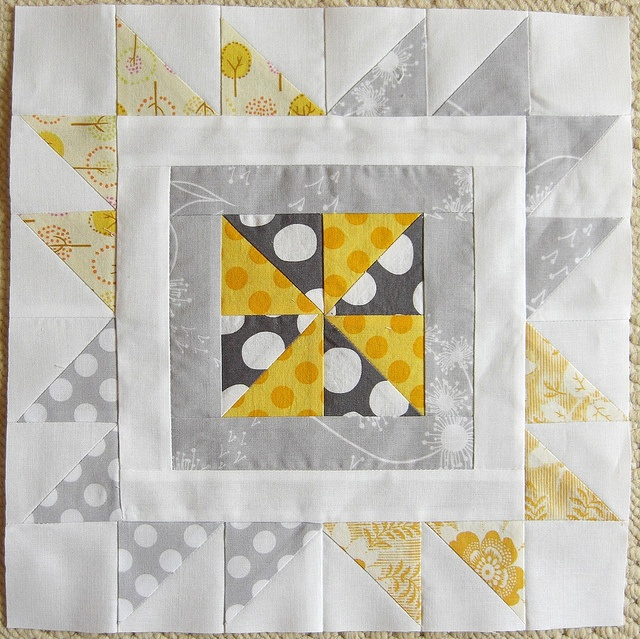 Quilting Divas block for Jenn | Flickr - love this block even more with a bright center and muted fabrics around it.