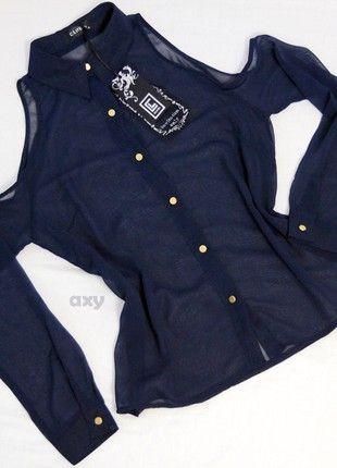 Kup mój przedmiot na #vintedpl http://www.vinted.pl/damska-odziez/koszule/20839931-nowa-granatowo-morska-koszula-mgielka-bez-ramion