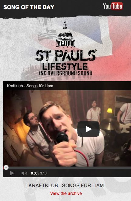 Song Of The Day is 'Songs Für Liam' by none other than KRAFTKLUB! It's headlining the site here: http://www.stpaulslifestyle.com/ #songotd #songoftheday #songsfurliam #kraftklub #headlining #stpaulslifestyle
