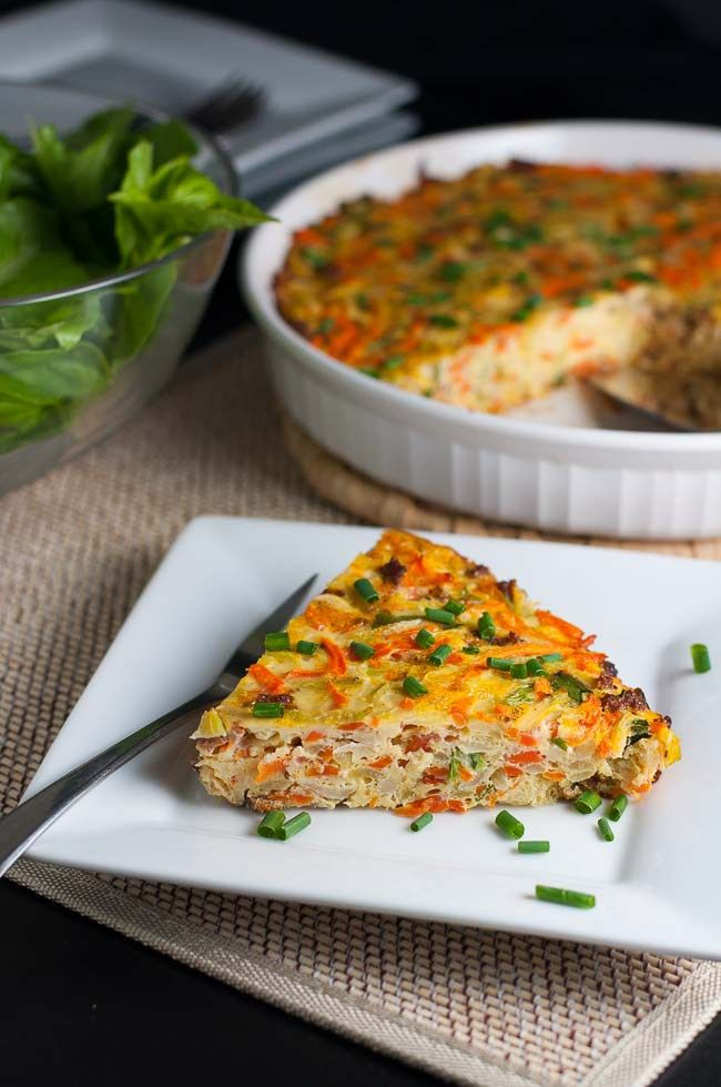 Lazy-Girl Healthy Kohlrabi Quiche. A one-pot meal, packed with healthy veggies. Quick and easy! |www.flavourandsavour.com