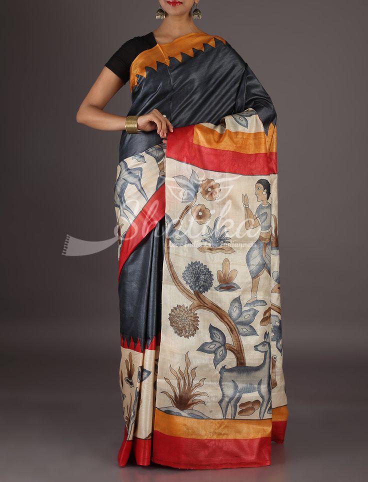 Reena Flora And Fauna On Border Pallu Handpainted Kosa Silk Saree