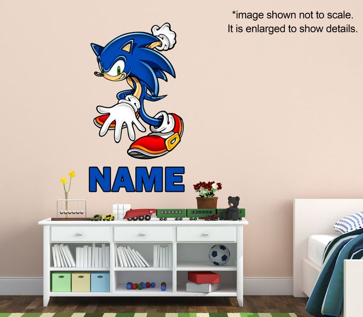Sonic The Hedgehog Name   Custom Vinyl Wall Decal Kids Room Decor  Personalized Blue Graphics Art